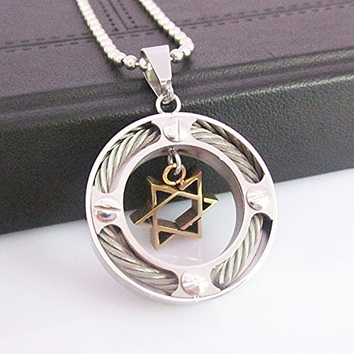 Silver and Gold Star of David Necklace, Ringed, Protected Design, Stainless Steel, w/ Chain, Pendant