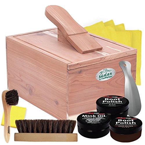 - FOOTMATTERS Red Cedar Boot & Shoe Care Shine Box - Premium Polish Kit