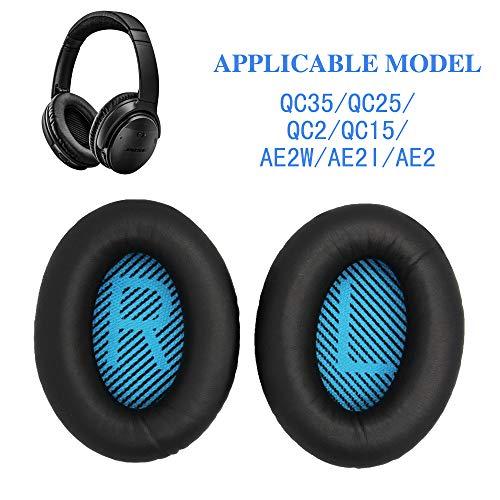Replacement Earpads Ear Pad Foam Ear Pad Memory Foam Replacement Ear Cushion for Bose QuietComfort15 QC2 QC15 QC25 QC35 AE2, AE2i, AE2 Wireless, AE2-W Headphones (Black)