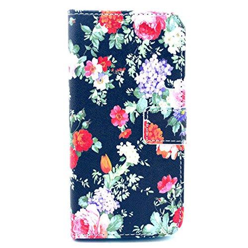 Blume Blossom Schwarz Blau Flip Cover Leder Wallet Case Schutzhülle für Apple iPhone 6 Plus (5.5 Zoll) Tasche Hülle Handytasche Etui Schale Backcover im Bookstyle mit Standfunktion Kredit Kartenfächer