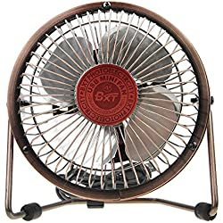 Greenery 360 Degree Rotating Antique USB Powered Plug Charging Ultra-quiet Metal Desktop Table Fan Super Mute and Lightweight Laptop PC Mini Fan Cooler Desk Cooling Fan (4'' Bronze)