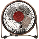 Greenery 360 Degree Rotating Antique USB Powered Plug Charging Ultra-quiet Metal Desktop Table Fan Super Mute and Lightweight Laptop PC Mini Fan Cooler Desk Cooling Fan (4 Bronze)