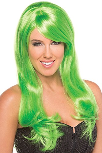 [Rave Wonderland Women's Lime Green Burlesque Wig One Size] (Lime Green Wigs)