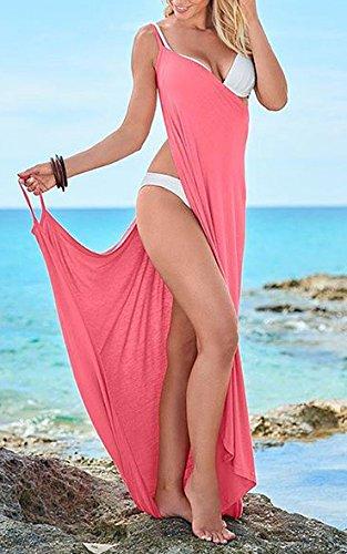 Moda Donna Abito Impero Maxi Estivi Colore Puro Vestito Spacco Cerimonia  Eleganti Con Scollo Mare V Vestiti ... bc2657937f0