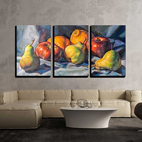 "Wall26 - 3 Piece Canvas Wall Art - Oil Painting on Canvas of a Fruit Composition - Modern Home Decor Stretched and Framed Ready to Hang - 24""x36\""x3 Panels"