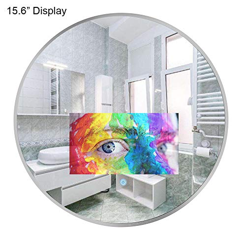 Soulaca 24 inches Round Mirror with 15.6 inches Waterproof Bathroom LED TV Display Screen Decoration Interior Design SPA Room