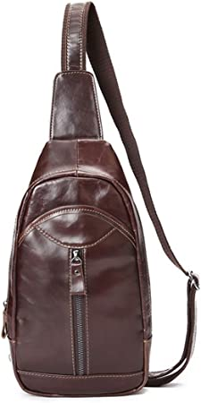 HONGHUIKE Sling Backpack Men Chest Bag Bolso Bandolera de Cuero ...