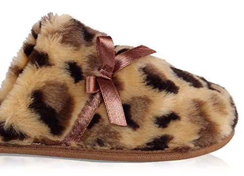 Cattior Womens Leopard Warm Ladies Slippers Bedroom House Indoor Pantofole Giallo