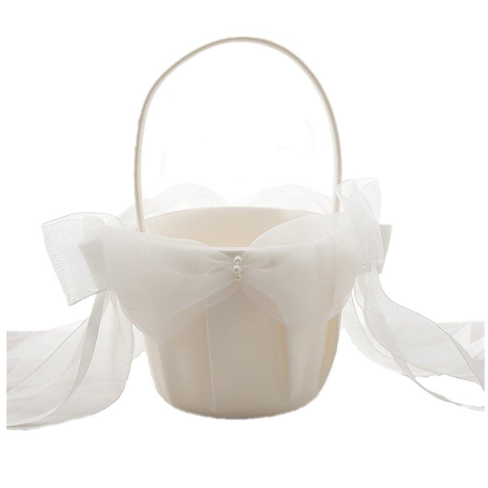 AZDRESS Ivory Satin Organza Wedding Flower Girl Basket with Bowknot