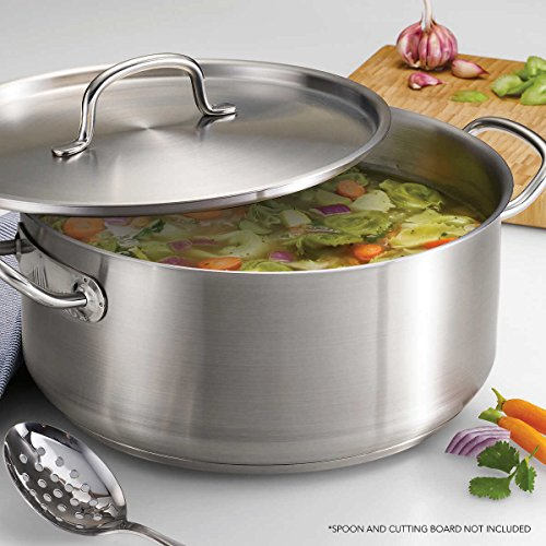 Tramontina ProLine 9-Quart Dishwasher Safe, Heavy Gauge Stainless Steel Tri-Ply Dutch Oven Stock Pot with Lid ()