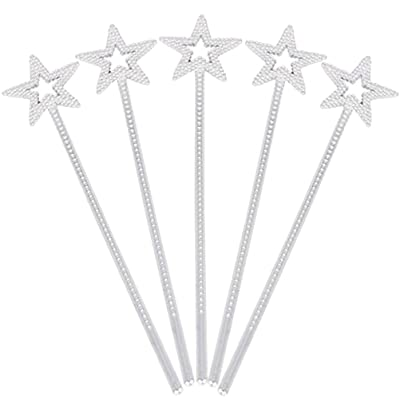 Tvoip 5PCS Girls Costume Props Star Magic Wand Angel Fairy Wands Sticks Birthday Party Wedding Halloween Cosplay Christmas 13 Inches (Silver): Toys & Games