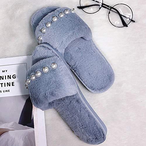 À Fashion Femme Cotton Pantoufles TD Hair Hiver Slipper Taille Slipper Simple Bleu Brown 39yards La Et Pearl Peluche Maison Couleur Flat Automne zwwqO