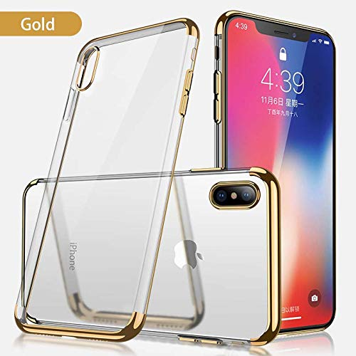 iPhone Xs Max Case, Champi Clear Protective Heavy Duty Case with Soft TPU Bumper [Slim Thin] Case for iPhone Xs max - Shockproof Plating Clear Slim Hybrid Bumper Case Cover (Gold) from Champi
