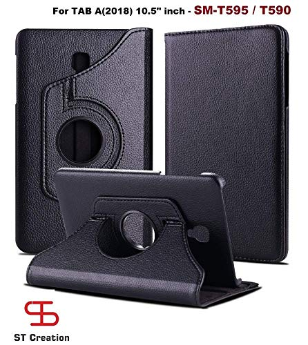 ST Creation Compatible for Samsung Galaxy Tab A 2018 (10.5″ Inch) SM-T595 / T590 PU Leather Rotating Stand Smart Flip Safety Case Cover- SM T595 / T590 (Black)