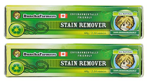 Laundry Stain Stick - BunchaFarmers All Natural 100% Biodegradable Environmentally Friendly Stain Remover Stick Made in Canada (2 Pack)