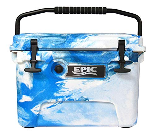 EPIC Rotomolded Ice Cooler Freezer Chest – 20 Quart High Performance Marine Ice Box in camo Blue
