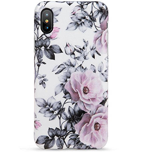 LUMARKE iPhone X Case,iPhone Xs Case,Cute Vintage Floral Girls Women Slim-Fit Glossy TPU Clear Bumper Flexible Soft Rubber Silicone Best Protective Phone Case Cover iPhone X/iPhone Xs