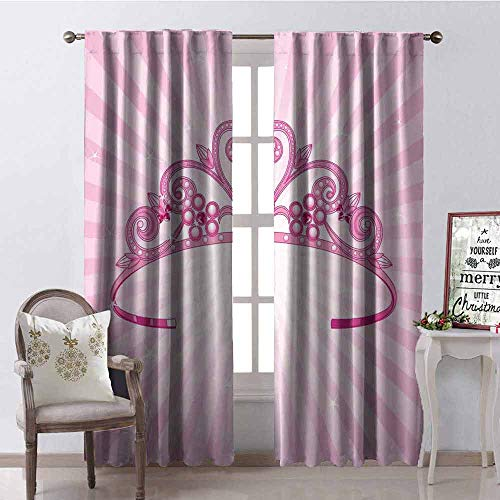 Gloria Johnson Kids 99% Blackout Curtains Beautiful Pink Fairy Princess Costume Print Crown with Diamond Image Art for Bedroom Kindergarten Living Room W100 x L84 Inch]()