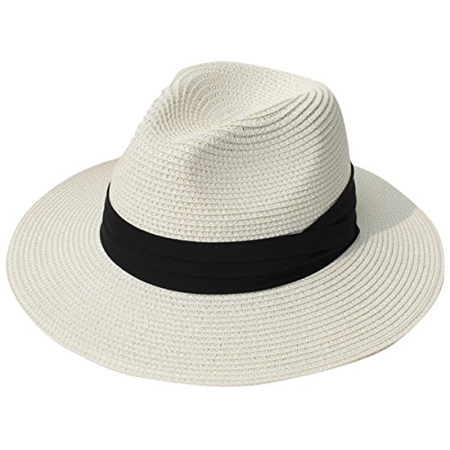(JOYEBUY Womens UPF50 Foldable Summer Straw Hat Wide Brim Fedora Sun Beach hat (Beige))