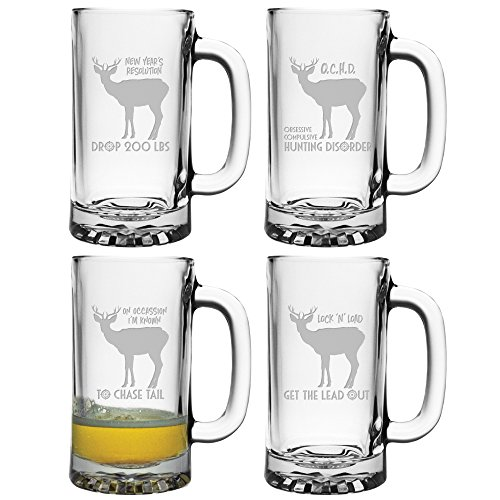 Susquehanna-Glass-AZ-5901-2729-4-On-Occasion-Im-Known-To-Chase-Tail-Lock-N-Load-Hunting-Themed-Etched-Heavy-Based-Beer-Mugs-Set-of-4-16-oz-NULL