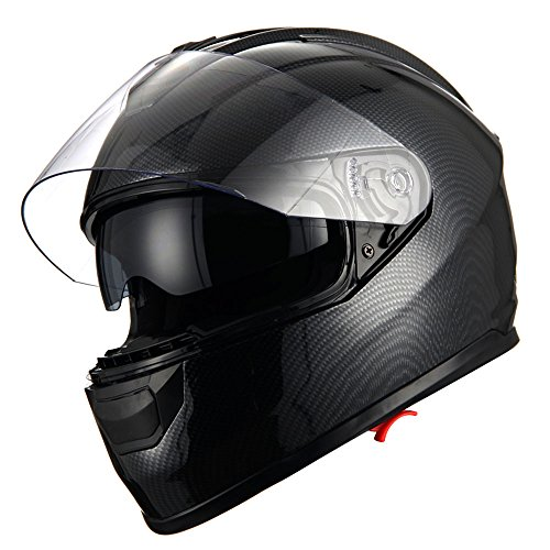 1Storm Motorcycle Full Face Helmet Dual Lens/Sun Visor; Carbon Fiber - Face Carbon Fiber