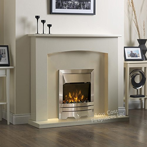 Stupendous Electric Cream Ivory Silver Led Flame Fire Wall Surround Fireplace Suite Large Big 54 Download Free Architecture Designs Aeocymadebymaigaardcom