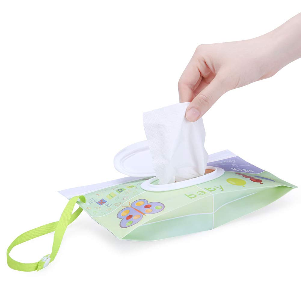 2 Pcs Wipes Bags Holder Storage Box- Portable Wipe Case Baby Wet Wipes Dispenser Reusable for Travel Picnic Daily Personal Use