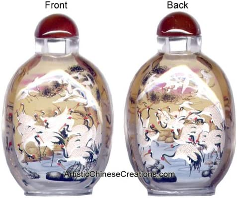 Chinese Collectible Handmade Inside painted  cranes glass Snuff Bottle 2