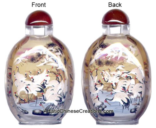 Chinese Collectibles / Chinese Snuff Bottle: Chinese Inside Painted Snuff Bottle - Cranes & Pine Tree