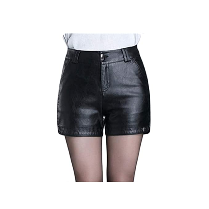 women for black Tight shorts leather