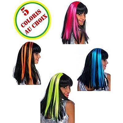 Paire mèches extension cheveux rose fluo