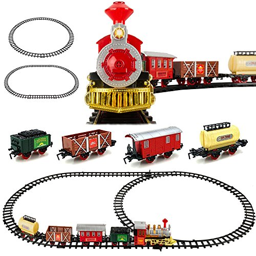 - Kids Classic Battery Operated Toy Railway Train Set with Lights & Sounds, Full Set with Locomotive, Carriage and Tracks, Great for Kids, Red