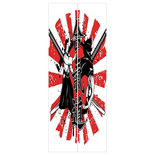3D Door Wall Mural Wallpaper Stickers [ Japanese,Crossed Samurai Swords  Hieroglyph Background Two Ronin Aikido Eastern Fight Style,Red White ]  Mural