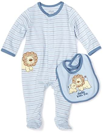Little Me Baby-boys Newborn Lovable Lion Footie and Bib, Light Blue Stripe, 6 Months