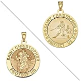 Baseball - Saint Christopher Doubledside Sports Religious Medal 2/3 Inch Solid 14K Yellow Gold