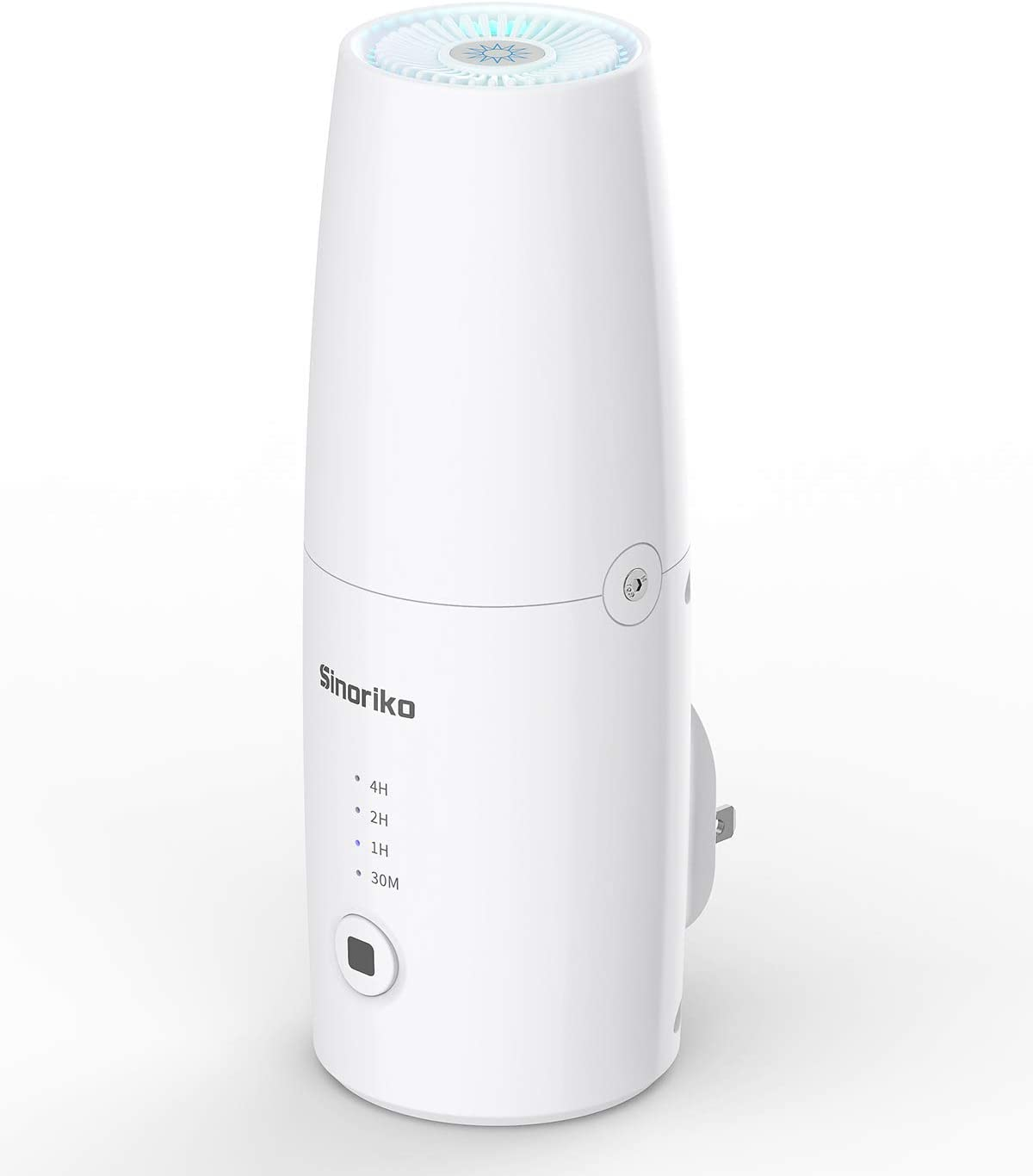 SINORIKO Pluggable Air Purifier & Sanitizer, Eliminates Germs and Viruses, Bacteria with UV-C Light and Ozone, Keep Air Fresh and Reduces Odors from Pet Area, Smoke, Mold, Cooking, Laundry, Rooms