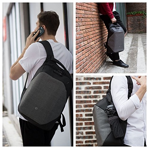 Korin Design ClickPack Pro - Anti-theft BackPack Laptop Bag with USB charging port large capacity waterproof TSA travel friendly Black and Grey by Korin Design (Image #7)