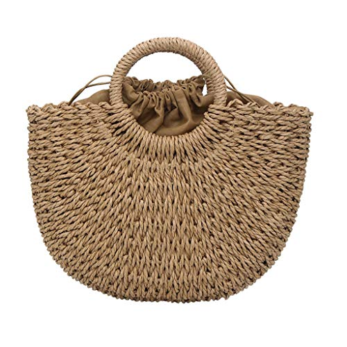 (Outique Beach Rattan Bag,Women's Fashion Summer Straw Woven Bag Solid Color Handbag Wild Handbag Casual Wind)