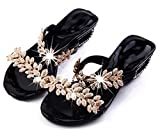 Easemax Women's Casual Open Toe Hollow Out Chunky Kitten Heel Sandals Flip Flops with Rhinestones Black 4 B(M) US