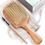 Hair Brush CHOSIN Wooden Detangling Brushes Natural Detangler Paddle Hairbrush for Women Men Kids Stimulate Scalp Help Growth Add Hair Shine