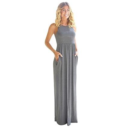 Vestidos Mujer Casual,Mujer sólido Largo Vestido Bohemio Lady Playa Verano Sundrss Maxi Vestido LMMVP