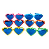 Seekingtag Heart Shaped Colorful Jumbo Blue Lens Sunglasses for Costumes Cosplay Halloween Party Fun Party Favor Photo Booth Props – Party Pack of 6, 10'' X 4''