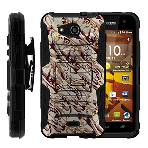 TurtleArmor | Kyocera Hydro Wave Case | Hydro Air Case [Hyper Shock] High Duty Proof Belt Clip Holster Kickstand Gel Hard Combo Camouflage Case - Blended Mocha Camouflage