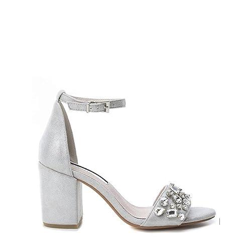 Higher-Heels - Cerrado de material sintético mujer, color Plata, talla 40