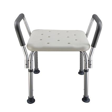 Taburete de baño / Silla de baño de aluminio para personas mayores, Ducha para mujeres embarazadas Taburete de baño de ducha con Apoyabrazos Silla ...