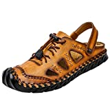 Mens Breathable Casual Sandals Trekking Outdoor Casual Sandals Beach Classic Refined Shoes Plus Size 38-48 (48, Yellow)