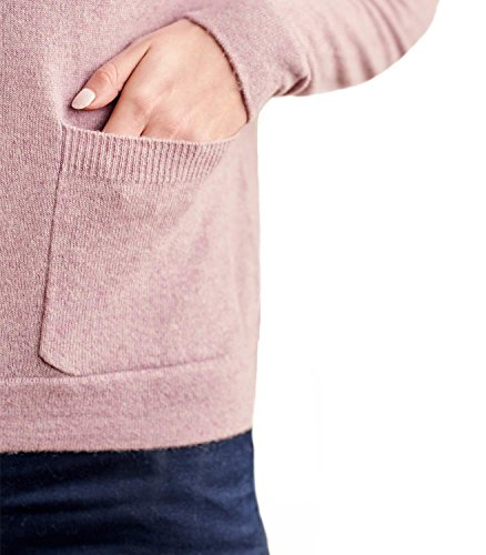 WoolOvers Pull à col cheminée avec poche - Femme - Cachemire & Mérinos Lilac Marl, M