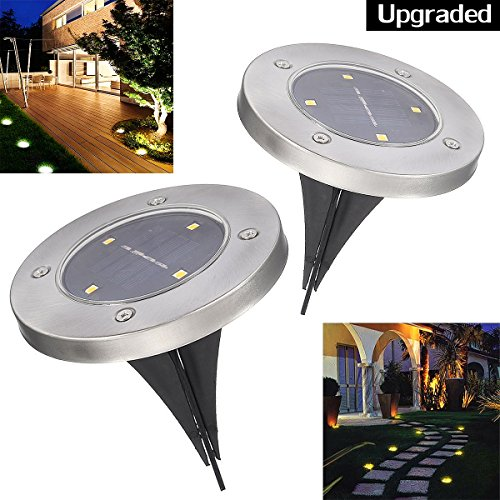 Solar in-Ground Lights Pathonor 4 LED 2 Pack White Ray Pathway Landscape Flood Light Outdoor Water Resistant Dark Sensing Auto On/Off Lawn Garden Patio Yard Driveway Walkway Pool Area