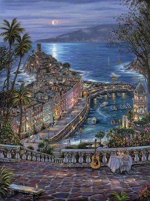 ししゅう糸 DMC糸 クロスステッチ刺繍キット 布地に図柄印刷 地中海夜風景 B072LSMZD4