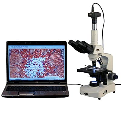 AmScope T340B-LED-9M Digital Siedentopf Trinocular Compound Microscope, 40X-2000X Magnification, Brightfield, WF10x and WF20x Eyepieces, LED Illumination, Abbe Condenser, Double-Layer Mechanical Stage, Includes 9MP Camera with Reduction Lens and Software